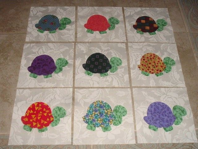 9 applique scrappy turtle quilt kit blocks free shipping
