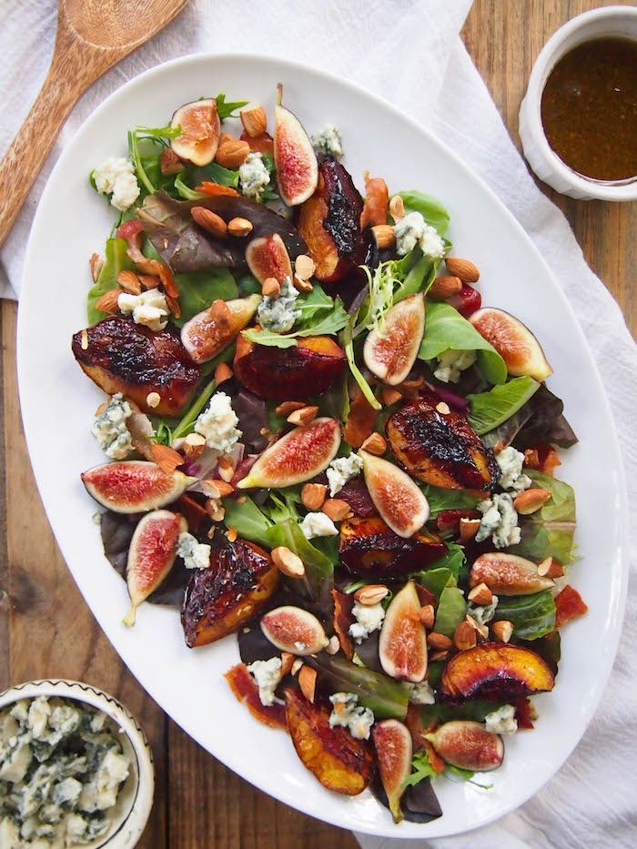 Balsamic Roasted Peach and Fig Salad with Bacon and Blue Cheese Recipe — Registered Dietitian Columbia SC - Rachael Hartley Nutrition