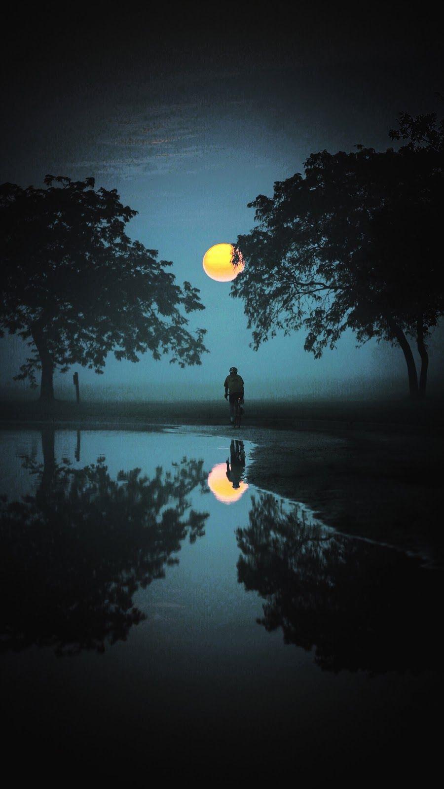 Full Moon Reflection Wallpaper Iphone Android 風景 景色 夜空