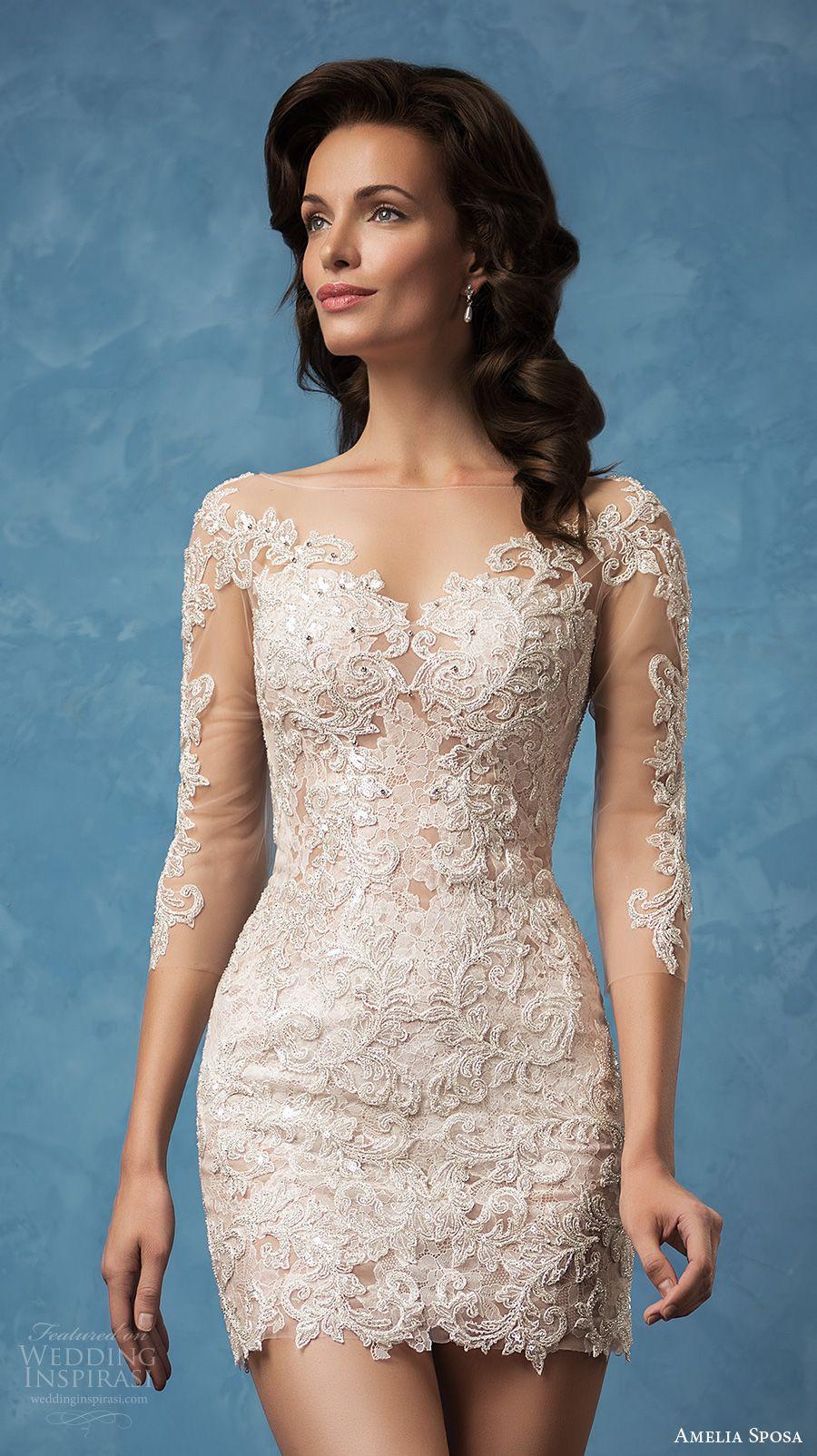 a042ffd2cc amelia sposa 2017 bridal three quarter sleeves semi sweetheart neckline full  embellishment sexy mini skirt short wedding dress illusion back (cornelia)  zv