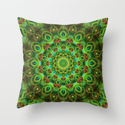 Peacock feathers Mandala Throw Pillow $20.00 | Decor For ...