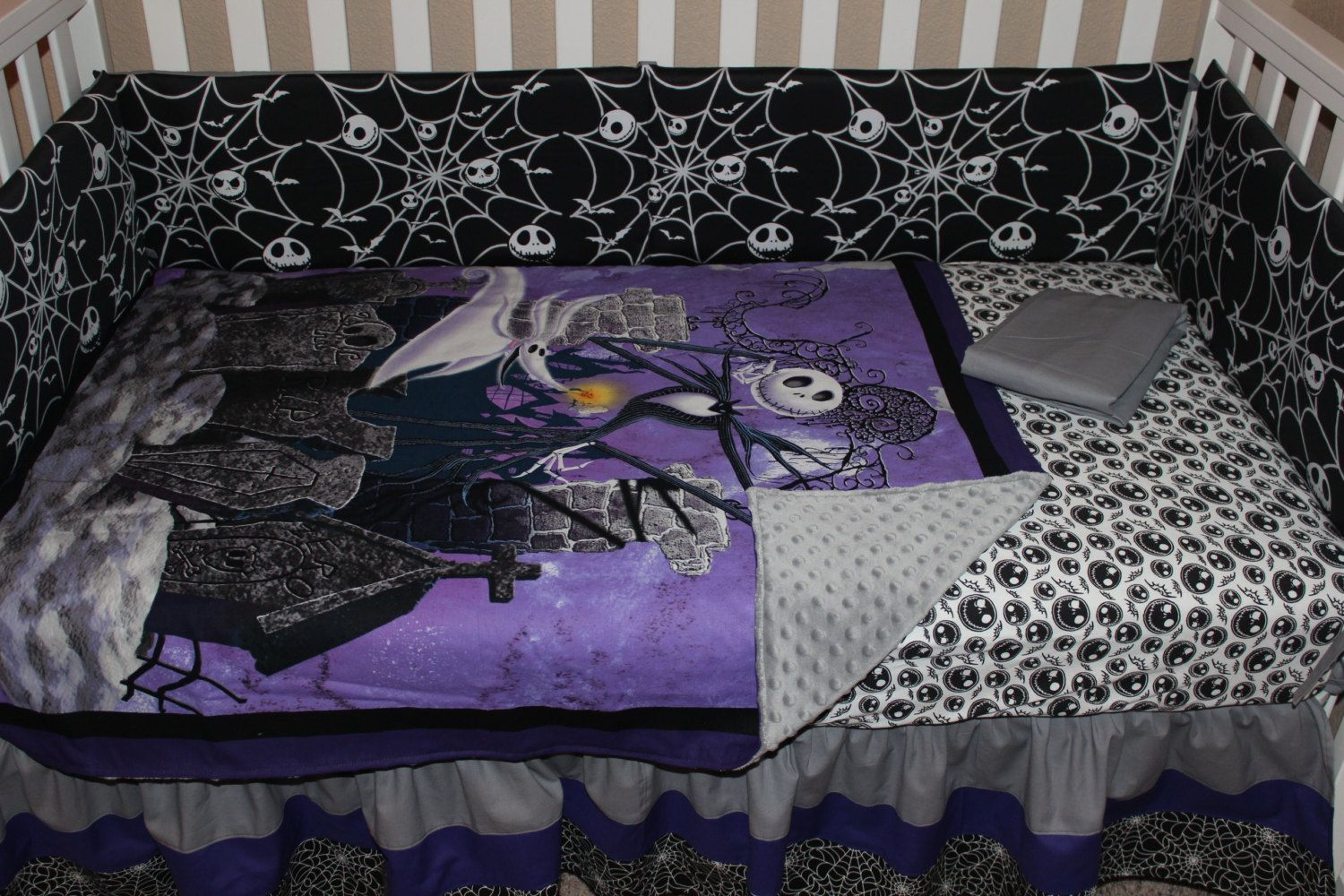 crib bedding set, jack skellington nightmare before christmas 5nightmare before christmas crib bedding set