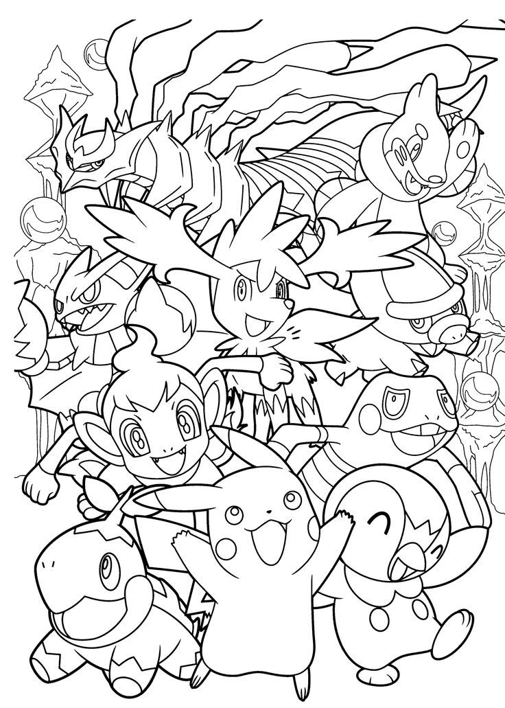 Coloring page for fans of Pokemon Go, with creatures to catch ! Or ...
