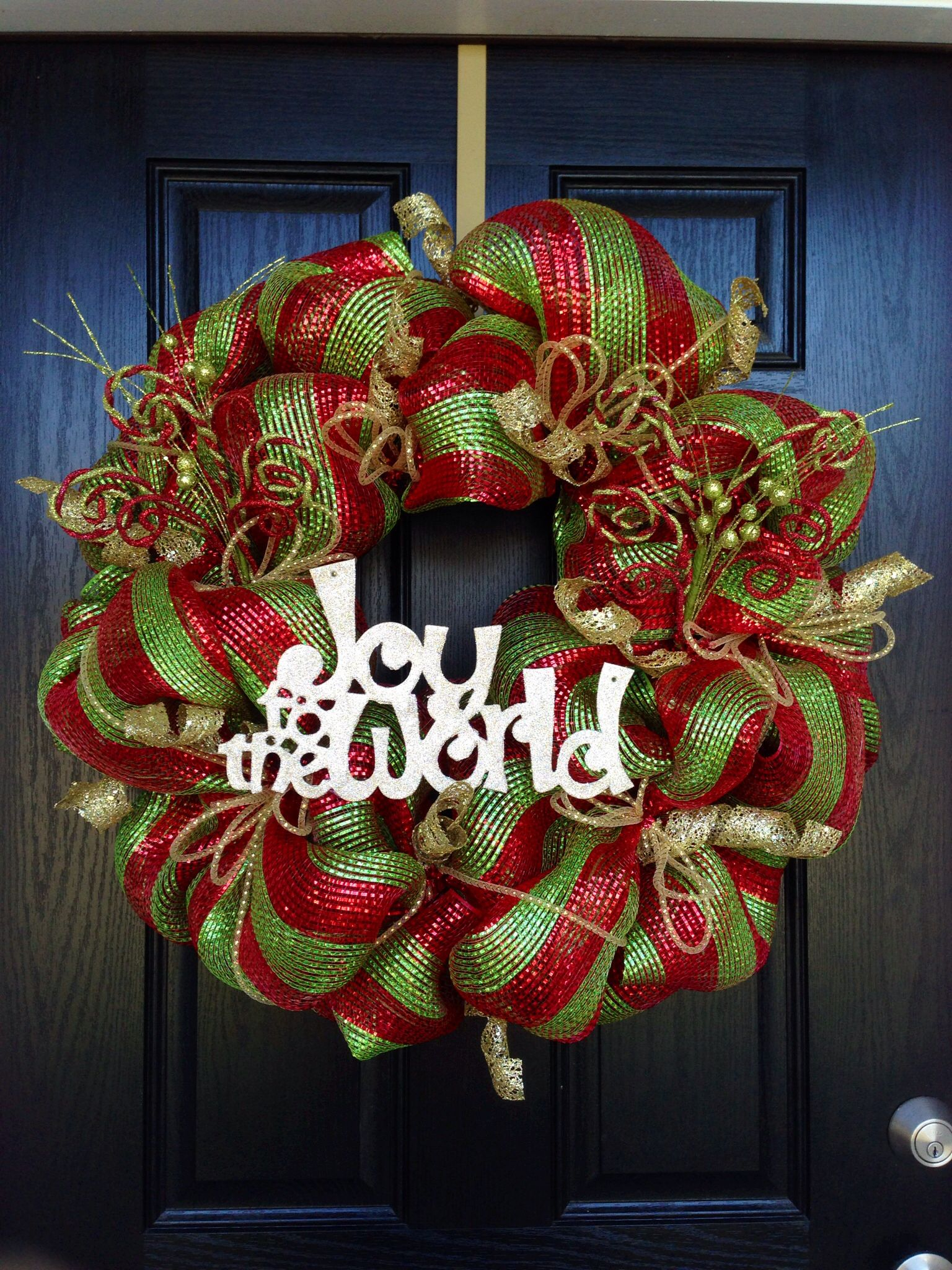 Creative red green u0026 gold ribbon Joy