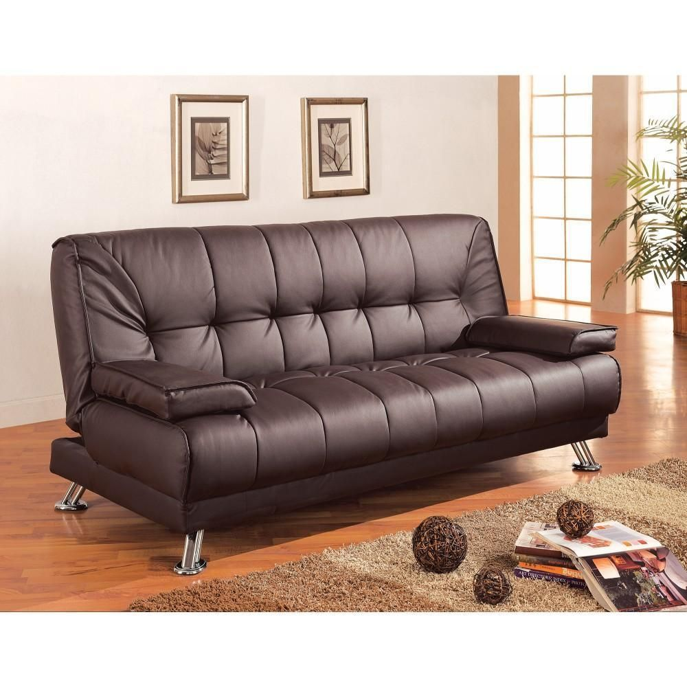 comfy faux leather convertible sofa bed with removable armrests rh pinterest com