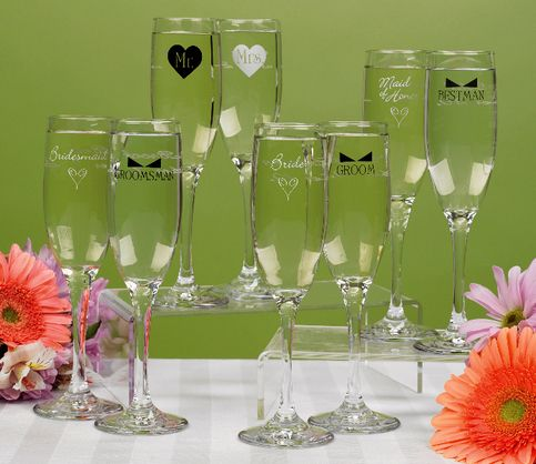 Toasting Flutes With Whimsical Bridesmaid And Bowtie Groomsman