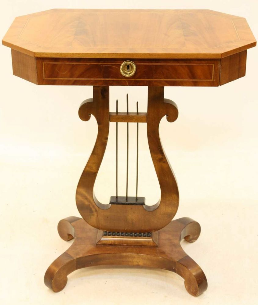 1800s antique swedish biedermeier lyre motif side table table with stunning  golden birch veneer from swedish interior design - 1800s Antique Swedish Biedermeier Lyre Motif Side Table Table With