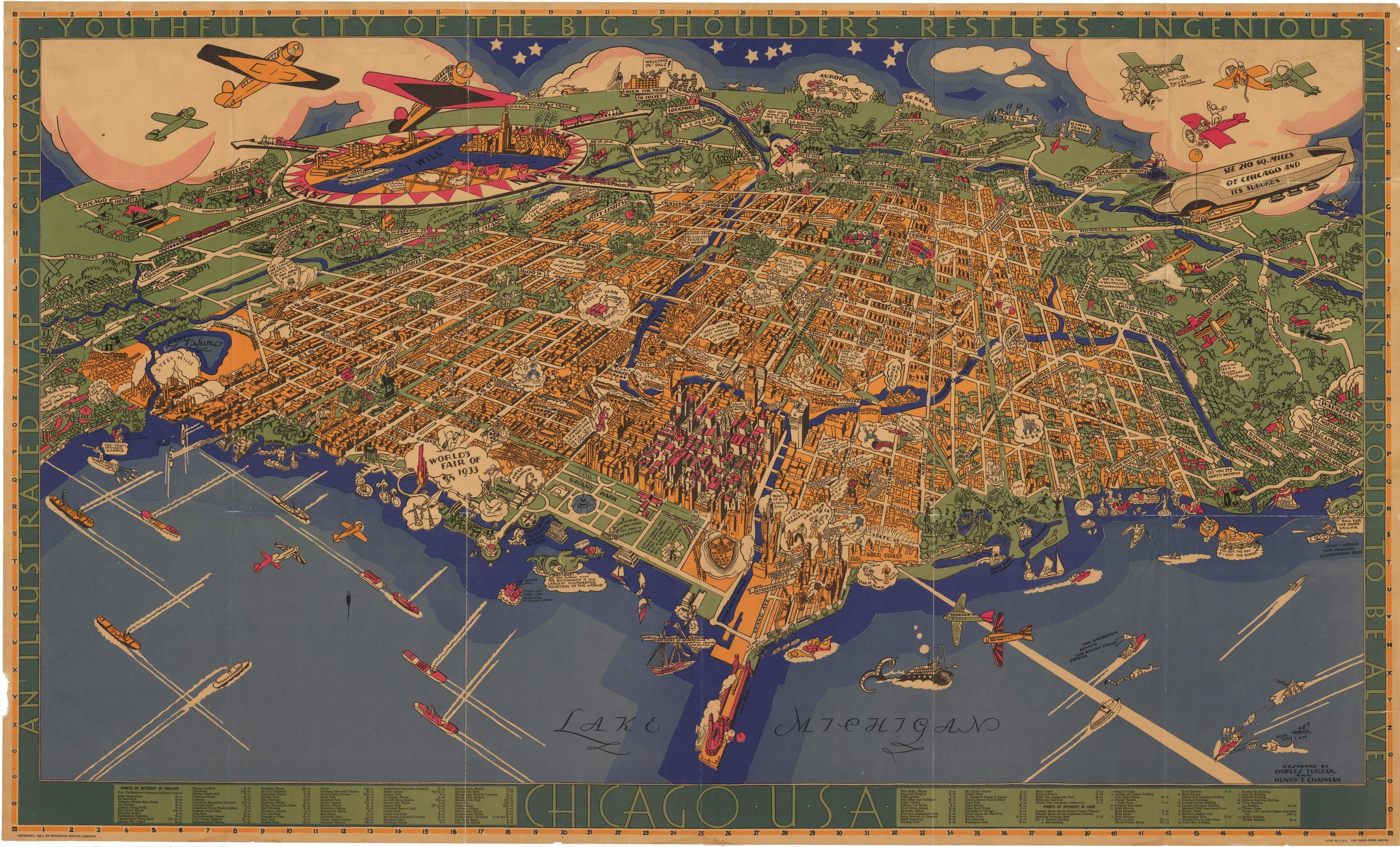 Illustrated Map of Chicago 1931 Illustrated Map