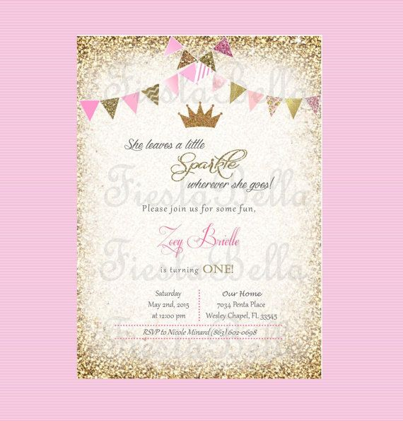 Princess Crown Birthday Invitation Pink Gold Glittter Bunting - 1st birthday invitations gold and pink