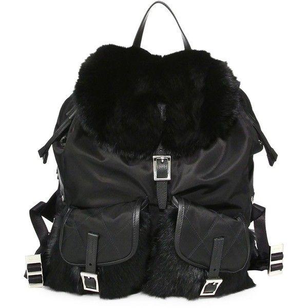 961cda06fd5f Prada Rabbit Fur   Nylon Backpack ( 2