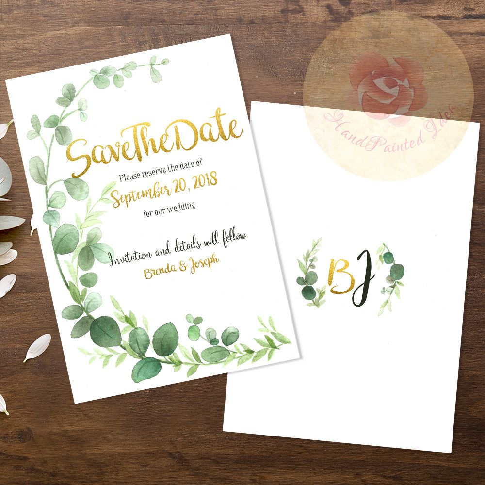 Rustic Watercolor Greenery Printable Save The Date