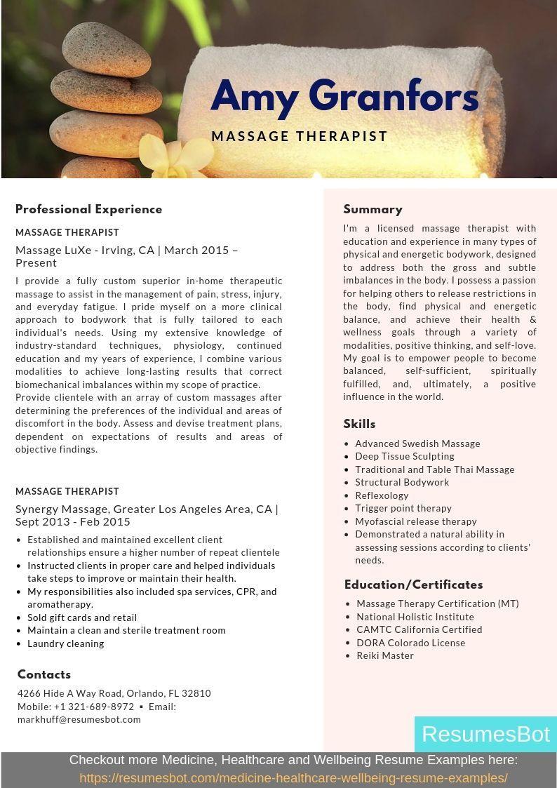 Massage Therapist Resume Samples & Templates [PDF+DOC