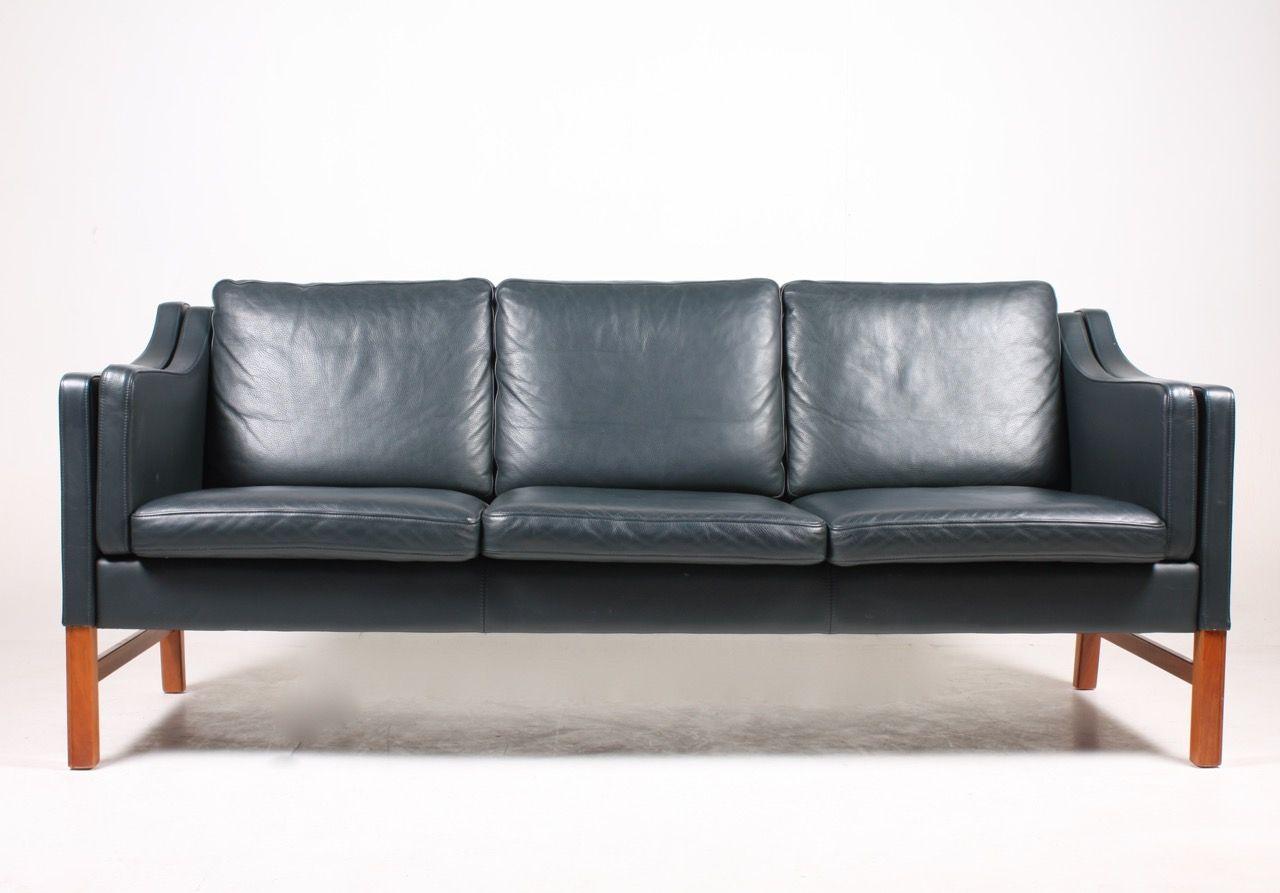 danish dark blue leather tree seater sofa by takashi okamura erik rh pinterest com
