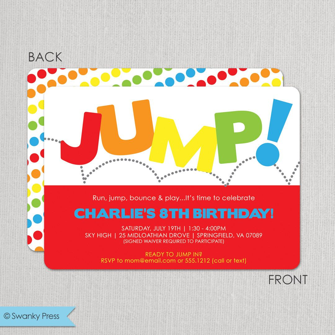 Jump Birthday Invitation, Bounce Invitation, Jump Birthday Party ...