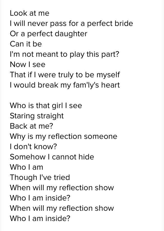 reflection from mulan disney lyrics disney songs