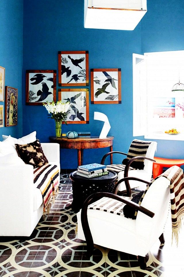 living room in blue%0A Pattern Brings This Moroccan Beach Home to Life   MyDomaine  Blue Living  RoomsBlue