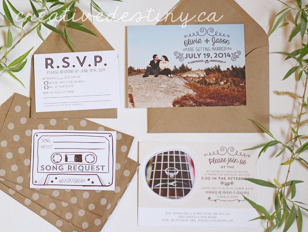 diy cd wedding invitations%0A wedding invitations  kraft paper envelopes  engagement photos  song request  rsvp card  www