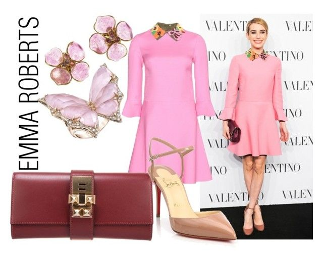 """""""Emma Roberts Your favorite Celebrity look"""" by aldigatti ❤ liked on Polyvore featuring Valentino, Hermès, Christian Louboutin, Chanel and Stephen Webster"""