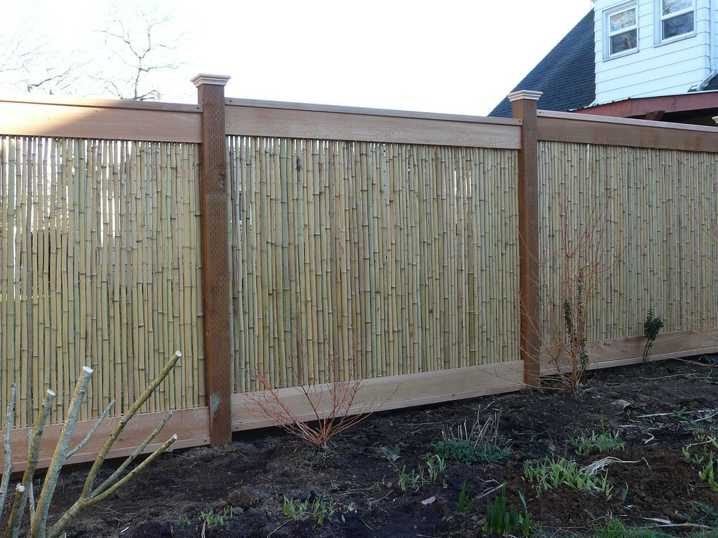 Tonkin Bamboo Fence Panel with dark wooden
