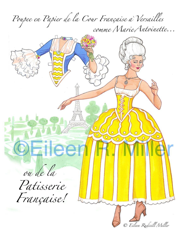 Marie Antoinette French Court Paper Doll by PaperDollsbyERMiller, $12.00