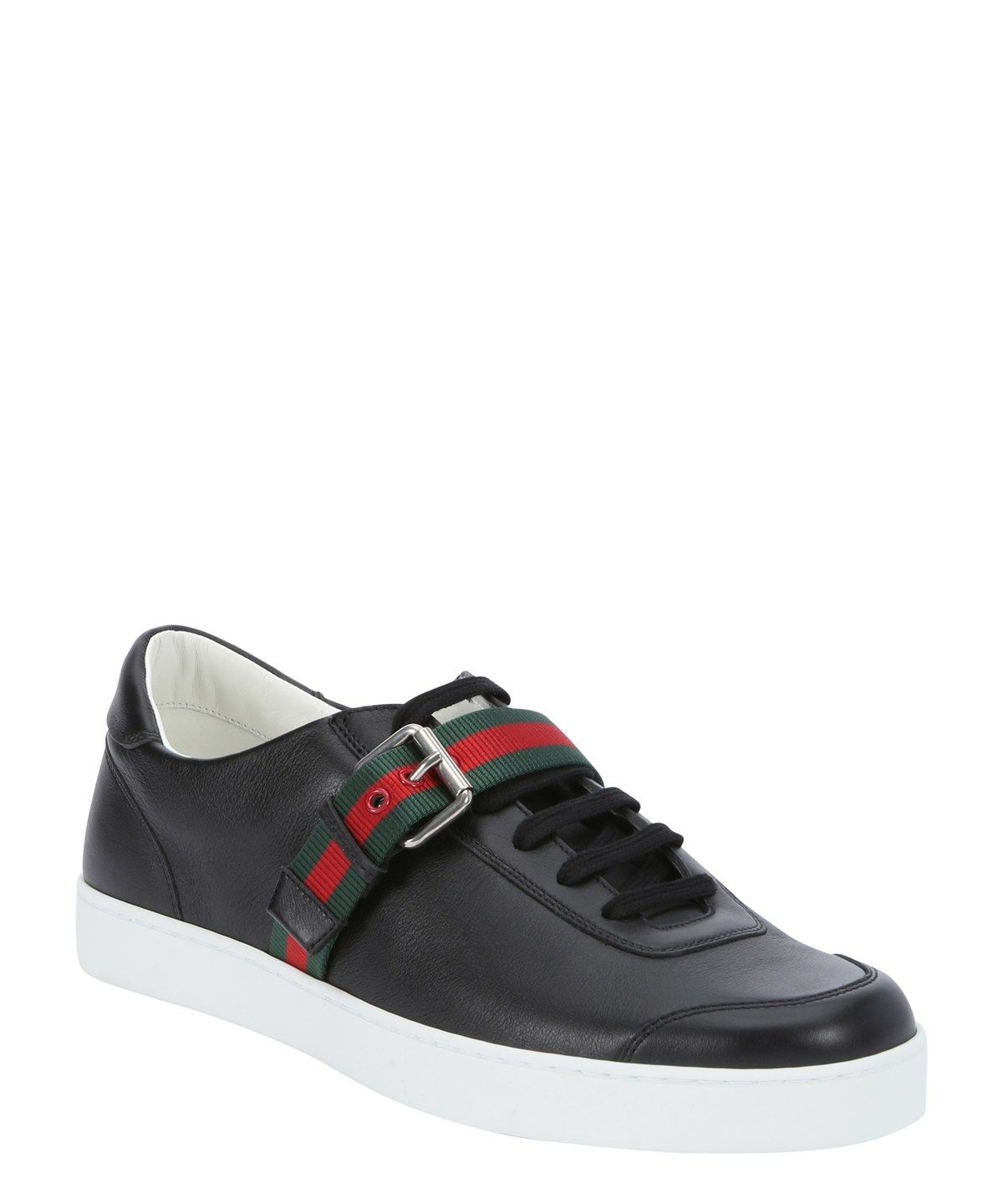 316dbdaa38a GUCCI Black Leather Web-Stripe Strap Lace-Up Sneakers .  gucci  shoes   sneakers