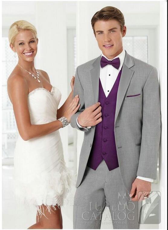 Custom Made Gray Coat Purple Vest Groomsman Men Groom Tuxedos ...