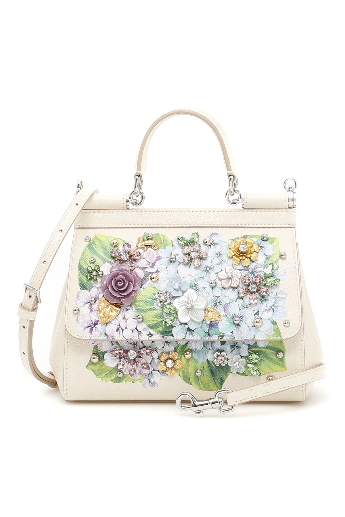 Dolce   Gabbana dauphine calfskin Small Sicily bag with Hydrangea print,  metal studs and flowers made of resin and crystals. Removable and  adjustable strap, ... cc73572996