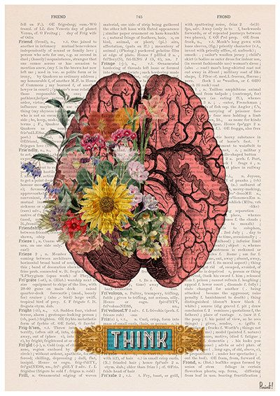Think, Colorful Brain Poster, anatomy art, anatomy Giclee poster ...