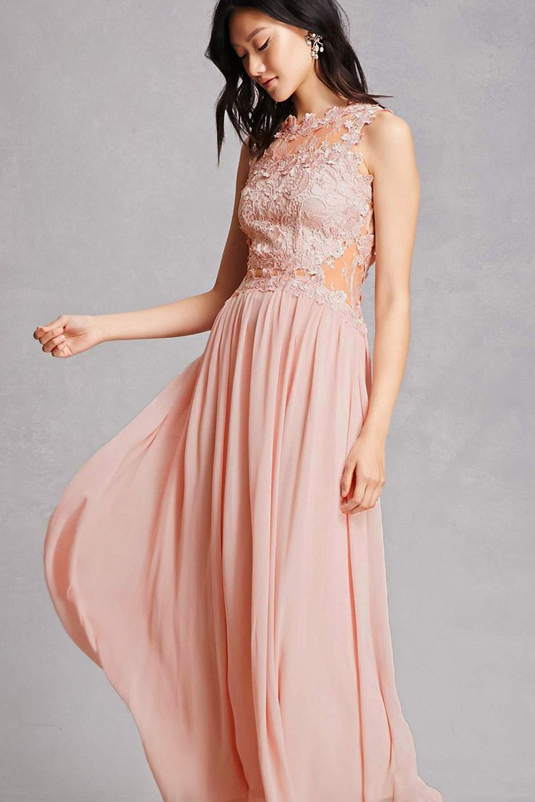 This woven maxi dress by Soieblu™ featuring a sheer chantilly ...