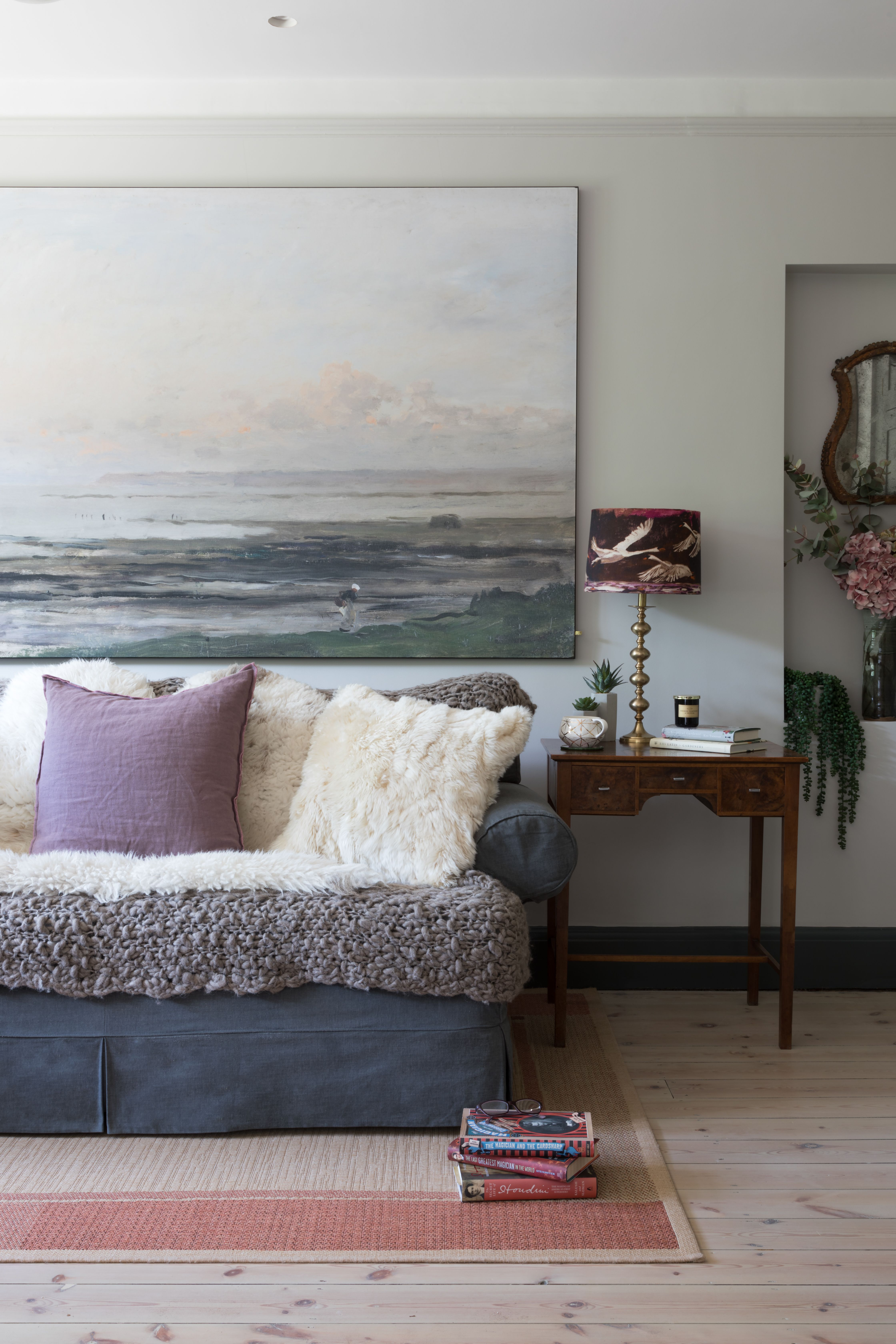 grey sofa with chunky knit throw with purple linen cushion the rh in pinterest com