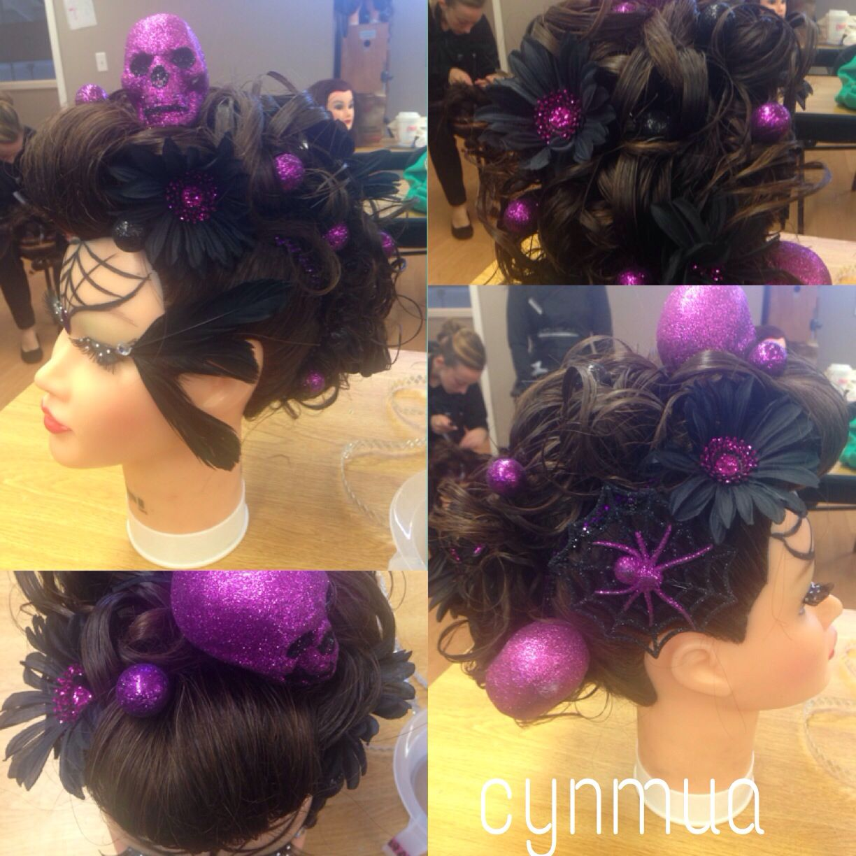 Beauty school halloween Hair competition elegant updo