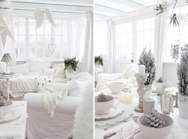 blanche d co de table de no l 50 id es table de no l. Black Bedroom Furniture Sets. Home Design Ideas