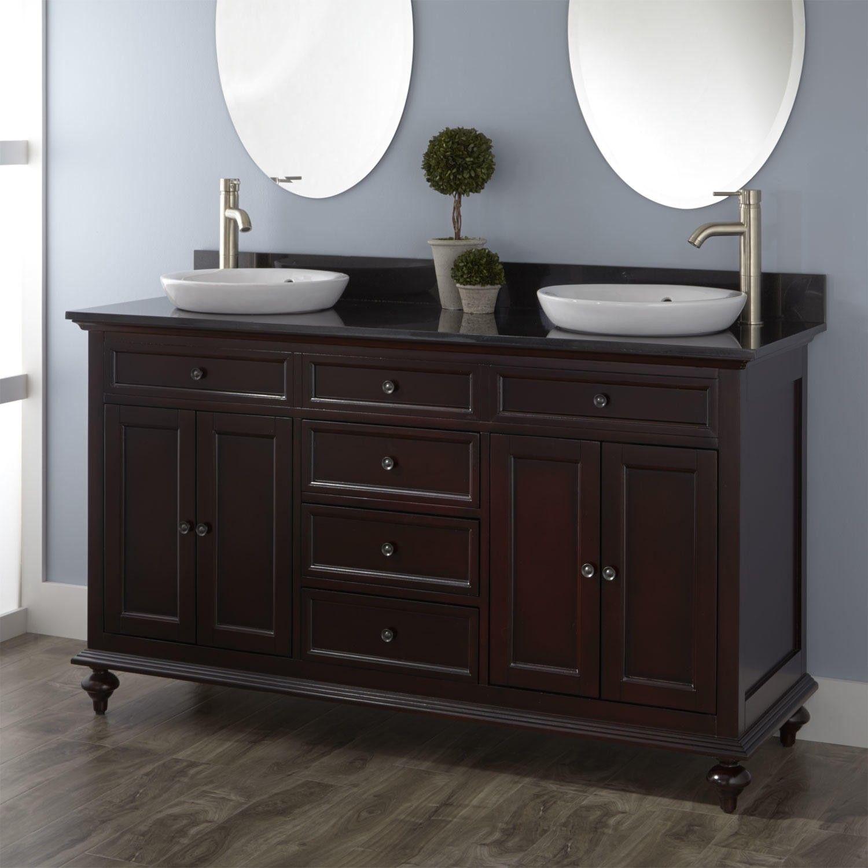60 Merlot Double Vanity for Semi Recessed Sinks