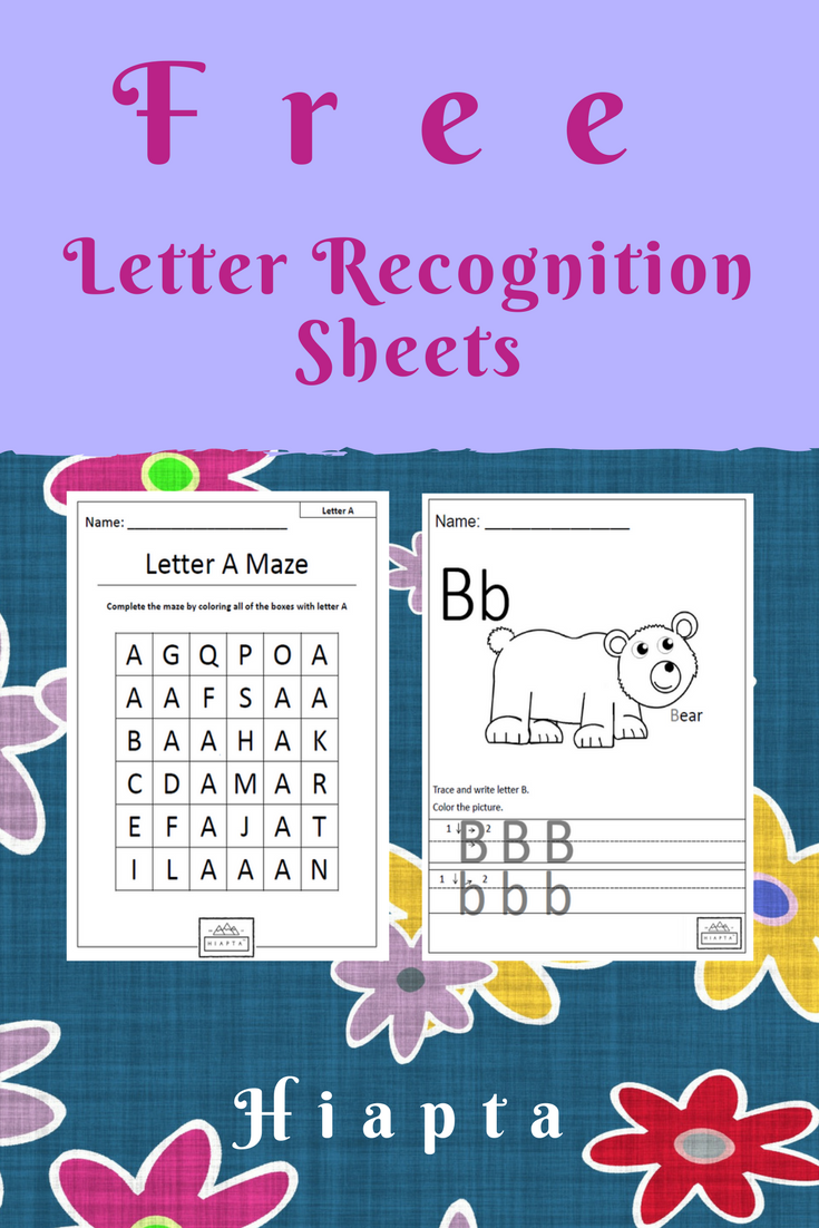 Print free letter recognition sheets from Hiapta. Lesson
