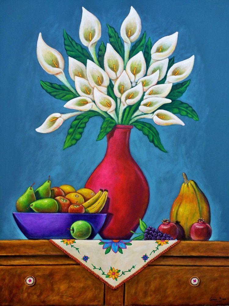 Huge Mexican Painting German Rubio Folk Art Still Life 58 X 46