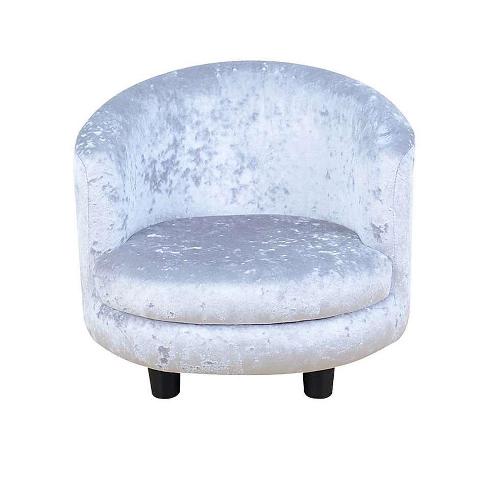 Kids Silver Crushed Velvet Chair