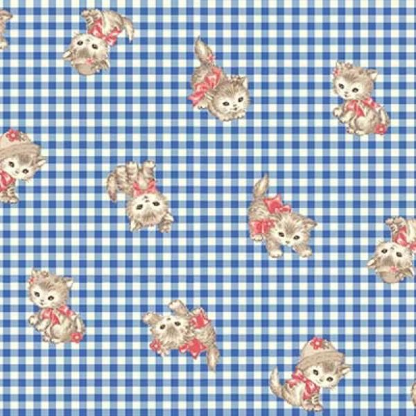 Quilt Gate Dear Little World Pocket Kitten Royal Blue Kitty Gingham
