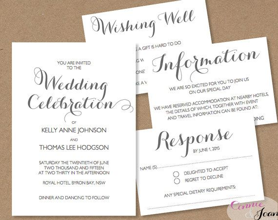 Printable Wedding Invitation, Wishing Well, RSVP and Information - information templates word