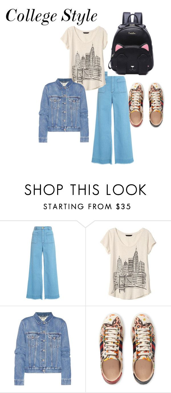 """""""College Style"""" by blancheflor on Polyvore featuring Banana Republic, Acne Studios e Gucci"""