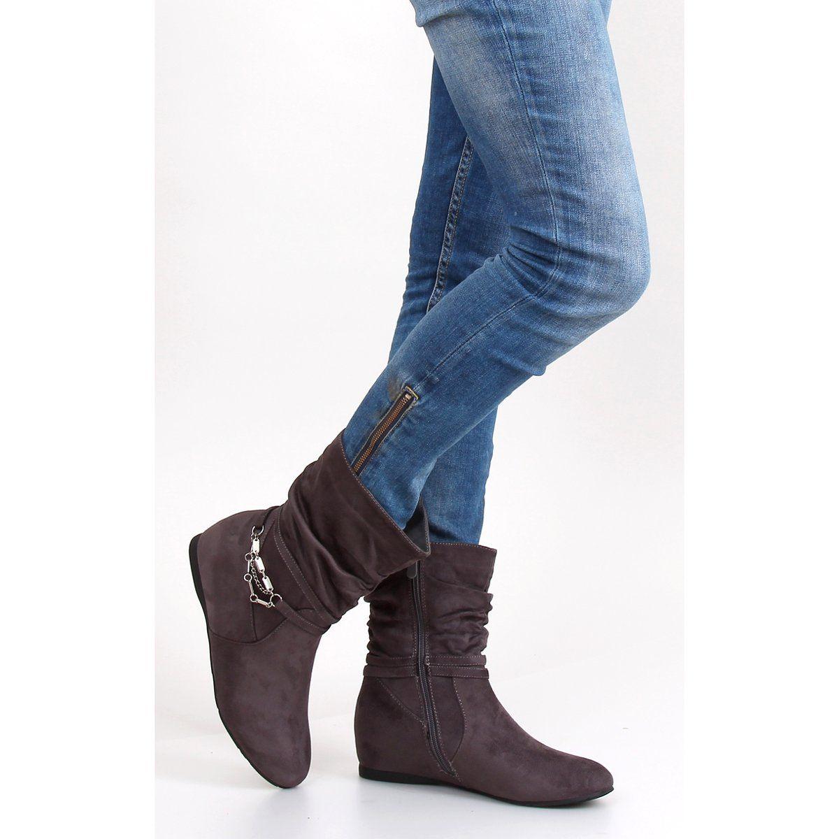 Botki Damskie Obuwiedamskie Szare Saszki Z Marszczona Cholewka Pe105 Grey Obuwie Damskie Fashion Ankle Boot Boots