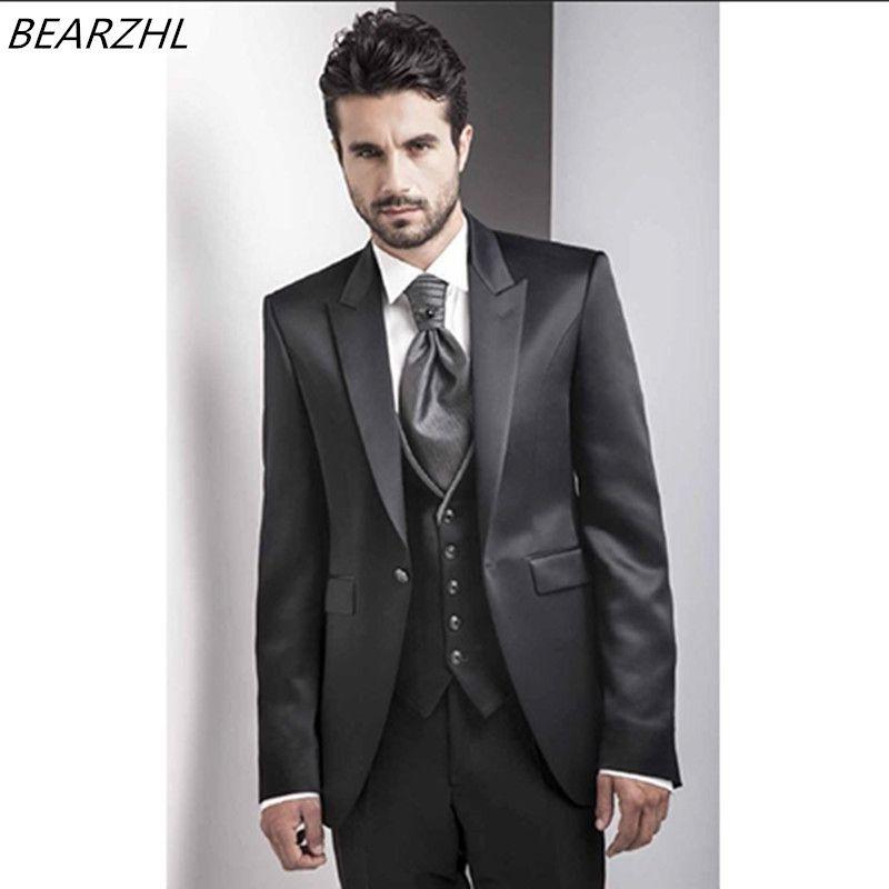 3e875f838dc wedding shiny tuxedo for groom wear black 3 piece suits custom made suit  2018 men suits