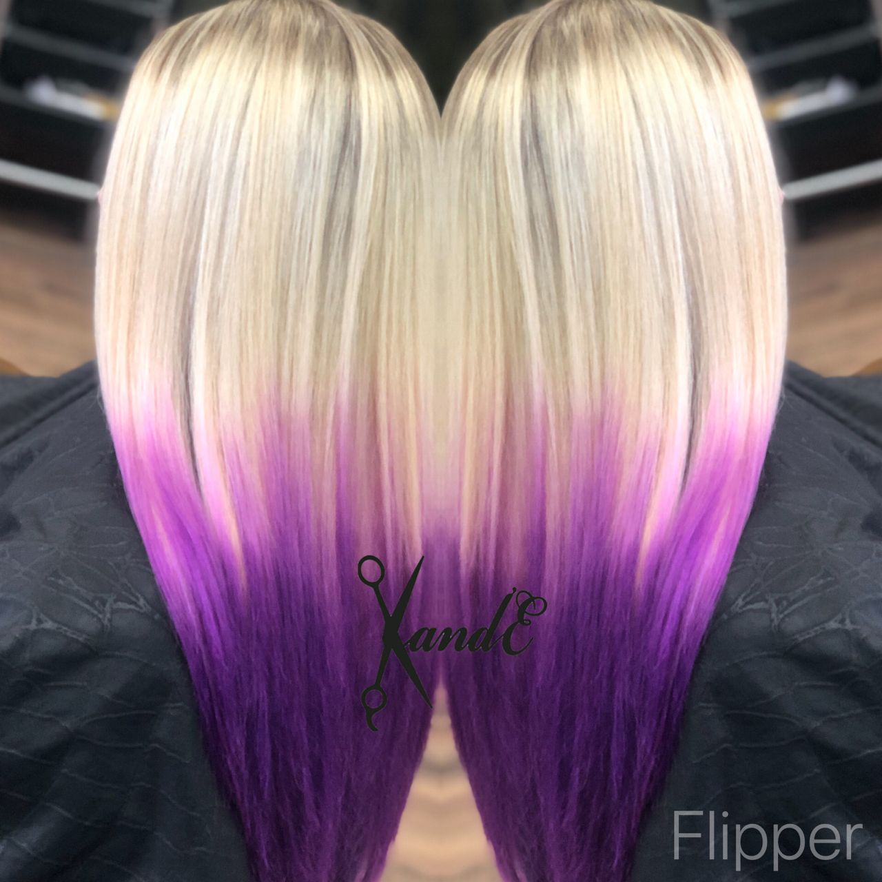 Blonde Platinum Blonde To Purple Ombre Orchid Hair Straight