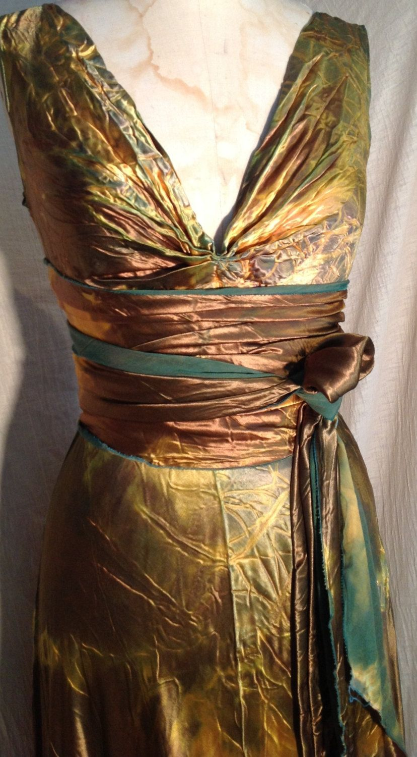 Mother of the bride beach dresses for weddings  Gold bronze HENRY dress with sash by momosoho boho bridal gowns