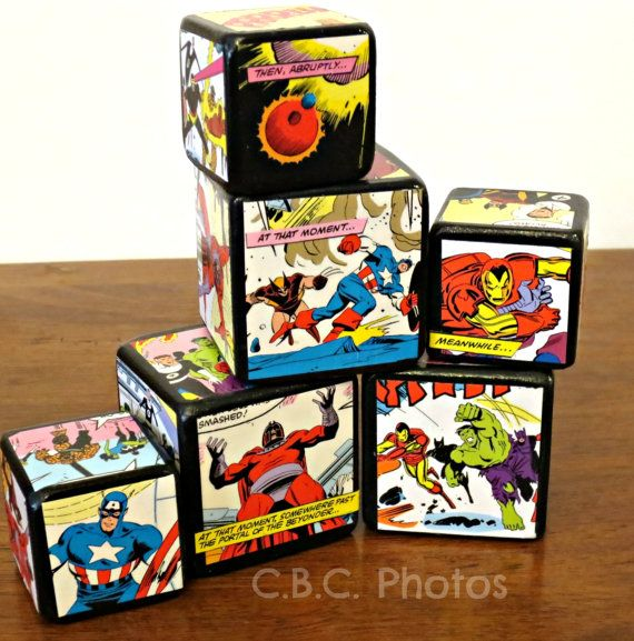 Marvel Superhero Wood Block Home Decor Kids By Cbunnycreations 25 00