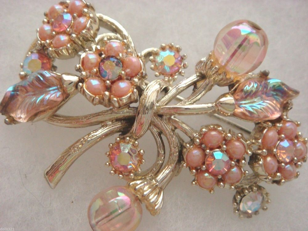 HOLLYCRAFT pink rhinestones, aurora brooch #Hollycraft
