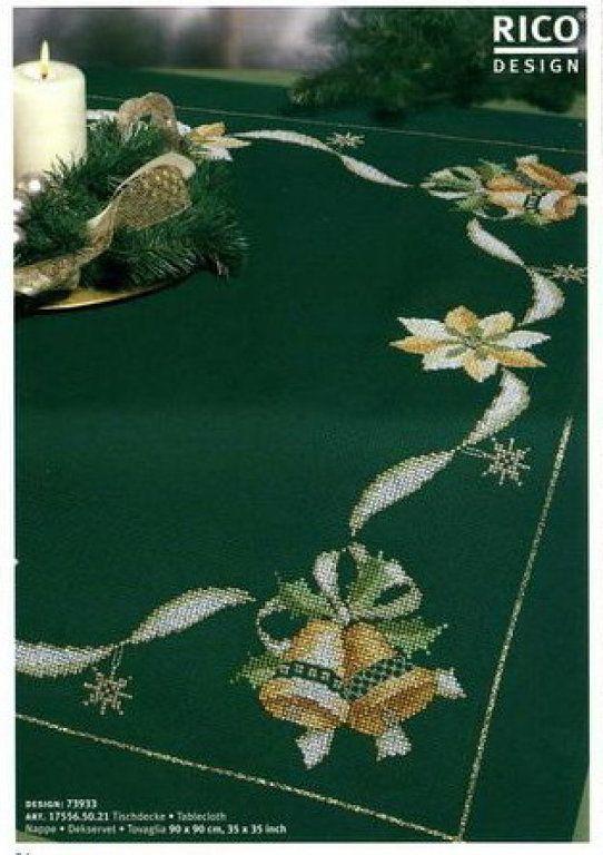 Manteles de navidad navidad cross stitch and stitch - Manteles para navidad ...