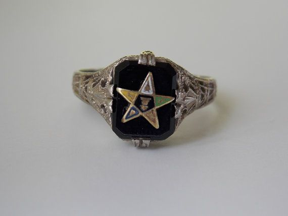 Order Of The Eastern Star Womens Ring Onyx 10k Filigree White Etsy Women Rings Eastern Star Order Of The Eastern Star