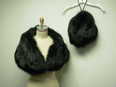 Faux fur stole and matching muff