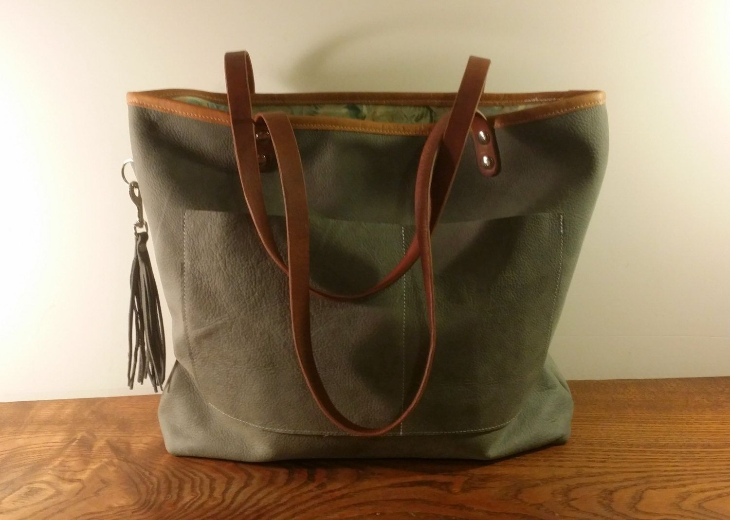 20e8927a22 Grey Pebbled Soft Thick Full Grain Leather and Batik Tote Bag Purse Handmade  in USA by