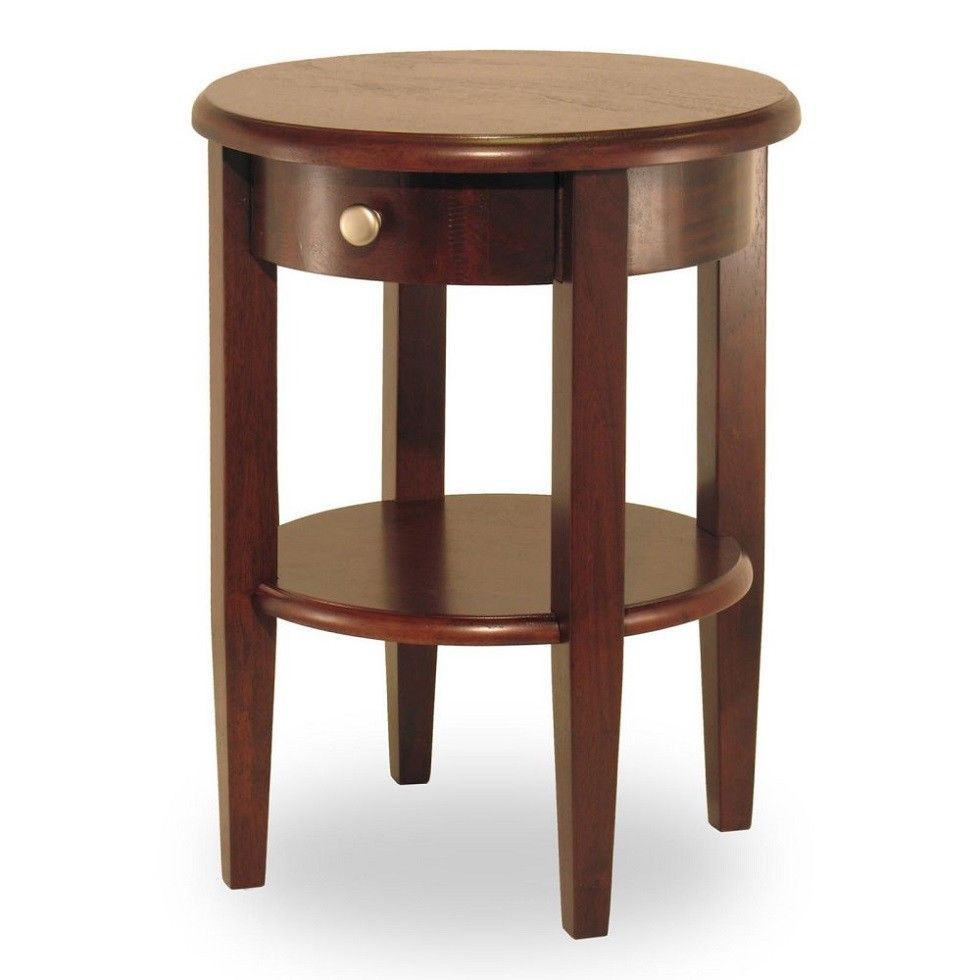 Small Round Accent Table Wood Shelf Drawer Chair Side Living Room